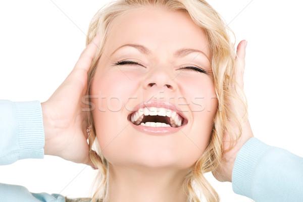 Gelukkig schreeuwen vrouw foto handen oren Stockfoto © dolgachov