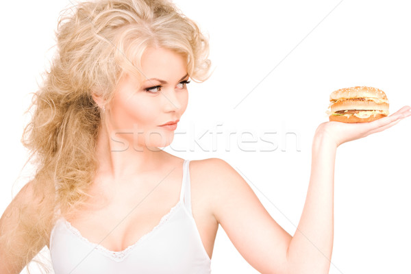 ストックフォト: 女性 · ハンバーガー · 小さな · 美人 · 白 · セクシー
