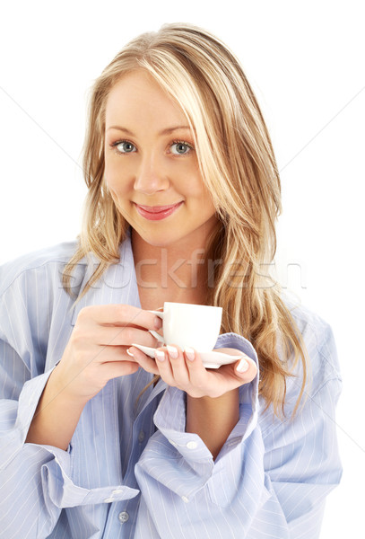 blond with cup of coffee Stock photo © dolgachov