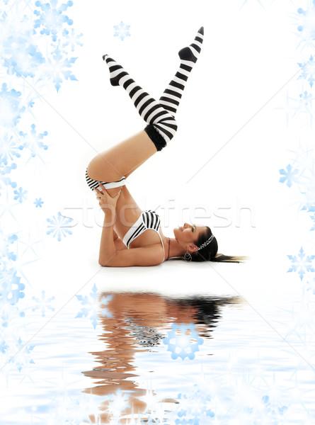 striped underwear supported shoulderstand Stock photo © dolgachov
