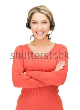Yardım hattı parlak resim dostça kadın operatör Stok fotoğraf © dolgachov
