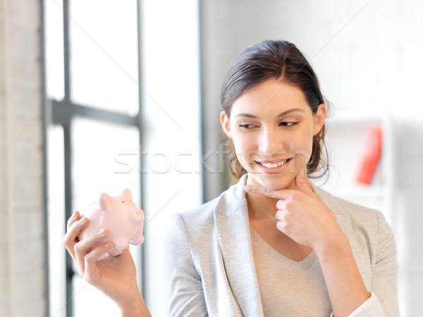 Foto stock: Mujer · alcancía · Foto · negocios · financiar · cerdo