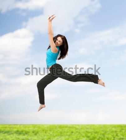 Сток-фото: прыжки · девушки · ярко · фотография · счастливым