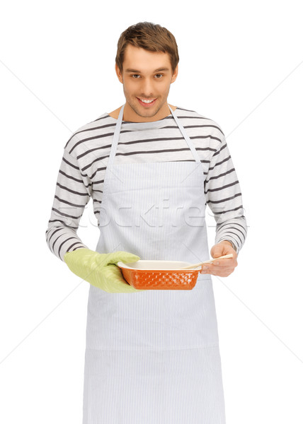 cooking man over white Stock photo © dolgachov