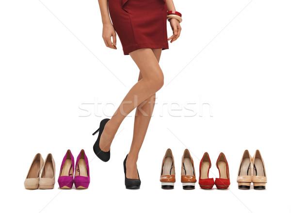 Stok fotoğraf: Uzun · bacaklar · yüksek · topuklu · ayakkabı · kadın · alışveriş · alışveriş