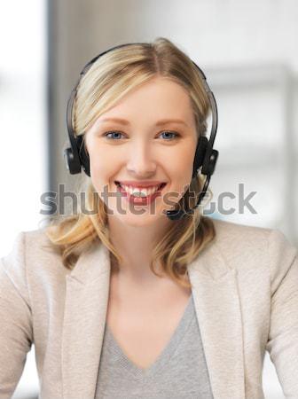 Amichevole femminile helpline operatore foto cuffie Foto d'archivio © dolgachov