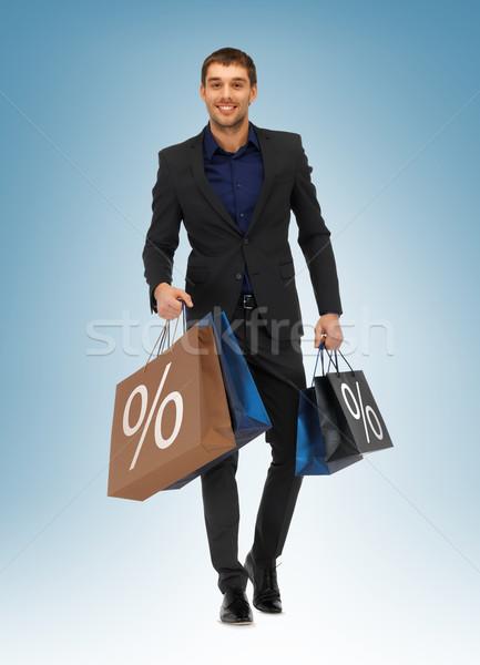 ストックフォト: 男 · ショッピングバッグ · 画像 · ハンサムな男 · 幸せ · ショッピング