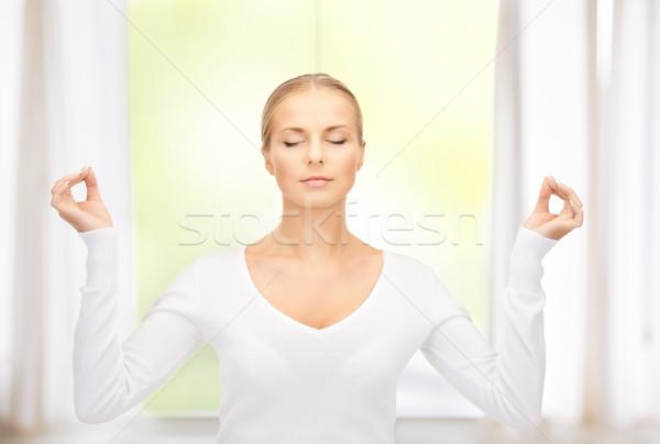 Nő meditáció fényes kép otthon üzlet Stock fotó © dolgachov