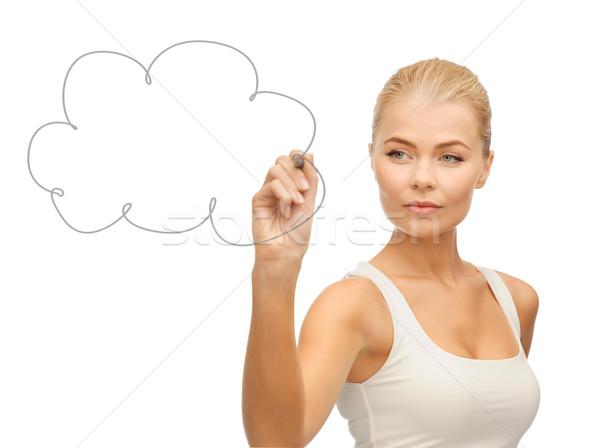 Nő rajz felhő levegő zavart kéz Stock fotó © dolgachov