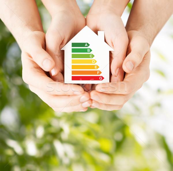 Manos blanco papel casa energía Foto stock © dolgachov