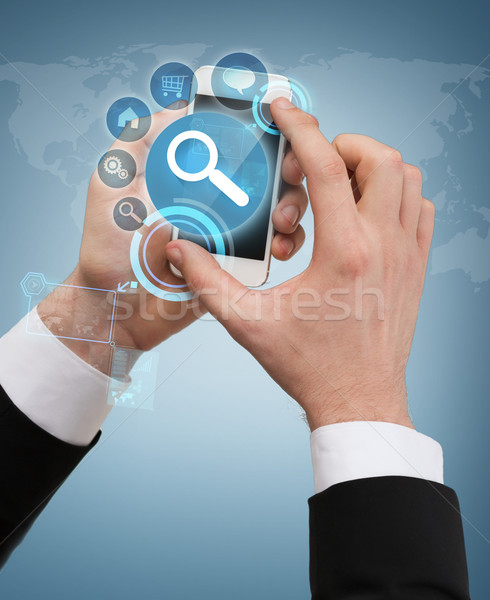 Empresário tocante tela negócio internet Foto stock © dolgachov