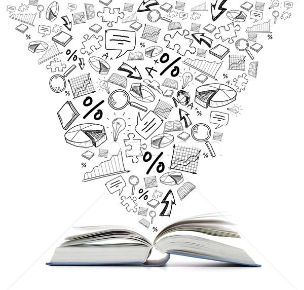 Nyitott könyv asztal oktatás olvas különböző szimbólum Stock fotó © dolgachov