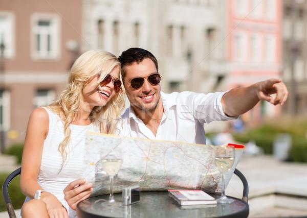 Paar kaart cafe zomer vakantie dating Stockfoto © dolgachov