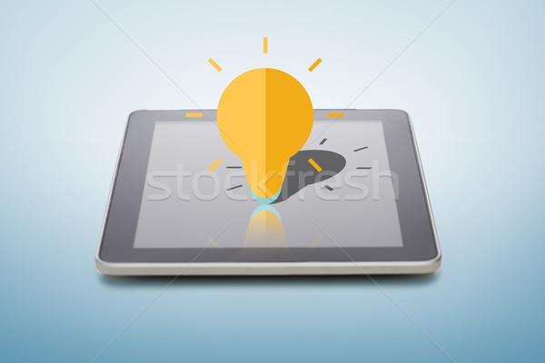 Pioruna żarówki ikona ekranu elektroniki Zdjęcia stock © dolgachov
