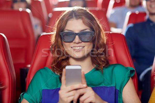 Feliz mulher 3D filme teatro Foto stock © dolgachov