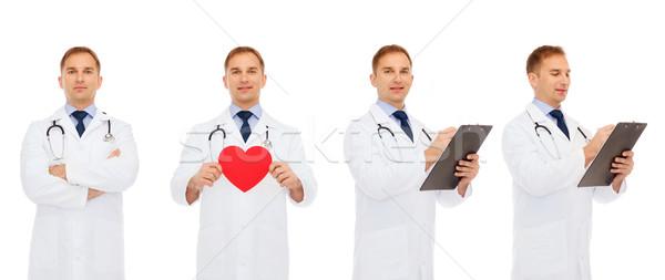 Orvosok piros szív vágólap gyógyszer hivatás Stock fotó © dolgachov