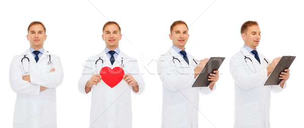 Doktorlar kırmızı kalp tıp meslek Stok fotoğraf © dolgachov