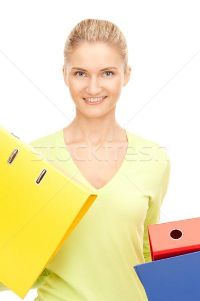 Imprenditrice cartelle foto giovani attrattivo business Foto d'archivio © dolgachov