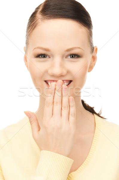 Mão boca brilhante quadro mulher bonita menina Foto stock © dolgachov