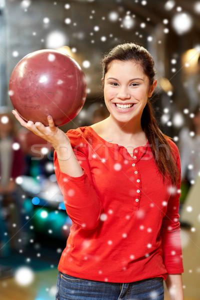 Boldog fiatal nő tart labda bowling klub Stock fotó © dolgachov