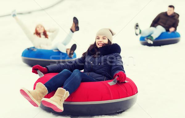 グループ 幸せ 友達 ダウン 雪 ストックフォト © dolgachov