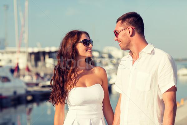 Uśmiechnięty para miasta miłości podróży turystyki Zdjęcia stock © dolgachov