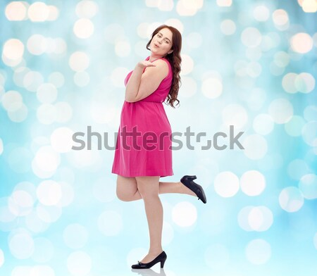 beautiful sexy woman in santa hat and red dress Stock photo © dolgachov