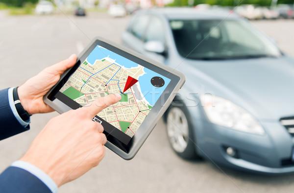 Manos GPS coche transporte Foto stock © dolgachov