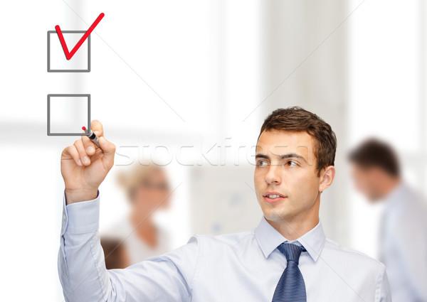 Vonzó tanár jelző üzlet iroda piros Stock fotó © dolgachov