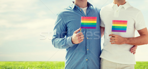 close up of male gay couple holding rainbow flags Stock photo © dolgachov