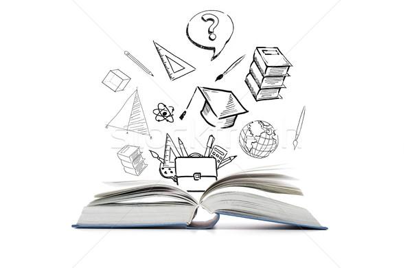 Nyitott könyv iskola firkák oktatás tanul tanulás Stock fotó © dolgachov