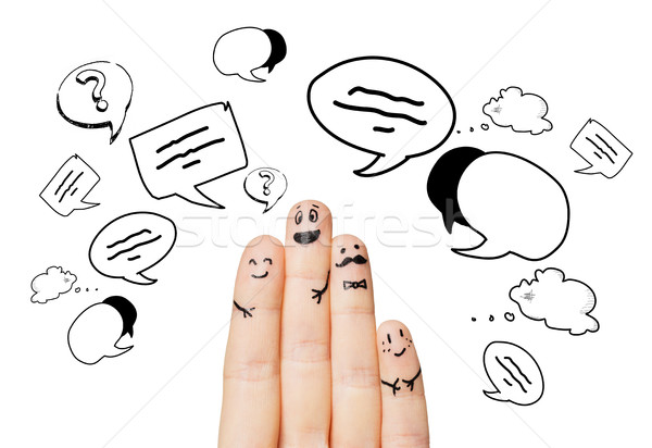 close up of four fingers with message clods Stock photo © dolgachov