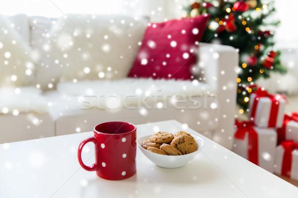 Zdjęcia stock: Christmas · cookie · czerwony · kubek · tabeli
