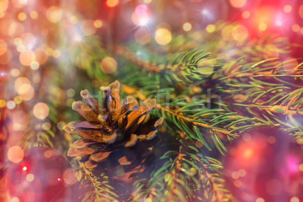 fir branch with christmas ball and pinecone Stock photo © dolgachov