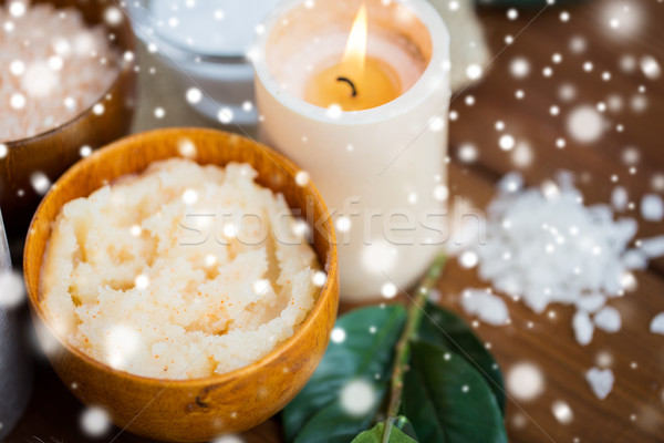 natural body scrub and candle on wood Stock photo © dolgachov