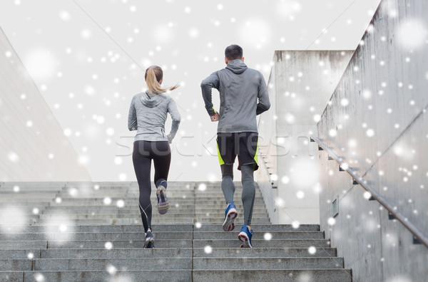 Сток-фото: пару · работает · наверх · улице · фитнес · спорт