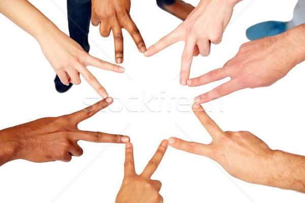 Grup uluslararası insanlar barış imzalamak Stok fotoğraf © dolgachov