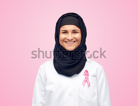Muzułmanin lekarza rak piersi świadomość wstążka muzyka Zdjęcia stock © dolgachov