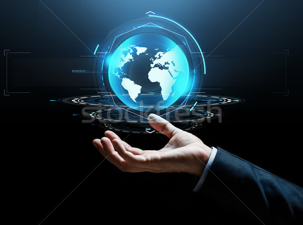 businessman hand virtual earth projection Stock photo © dolgachov