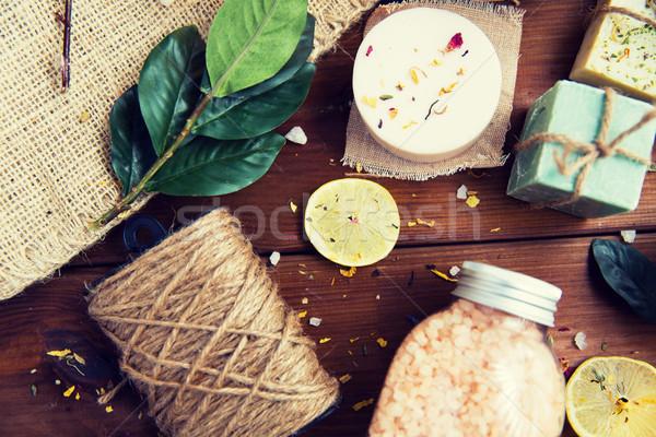 Körper Pflege kosmetischen Produkte Holz Stock foto © dolgachov