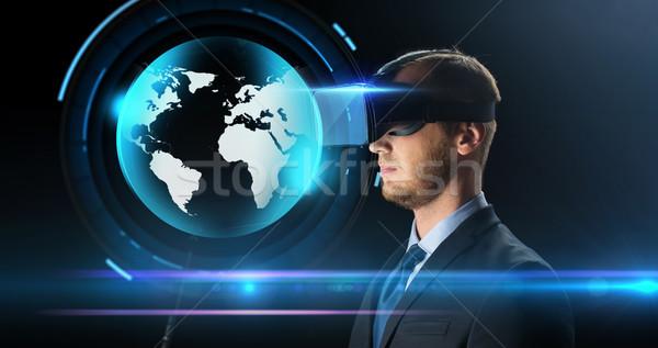 Geschäftsmann Wirklichkeit Gläser Headset Technologie Stock foto © dolgachov