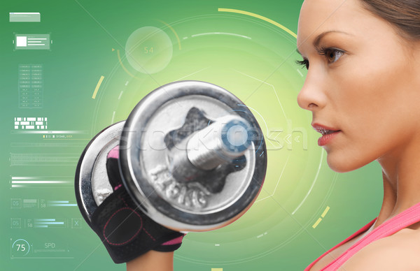 close up of sporty woman with dumbbell Stock photo © dolgachov
