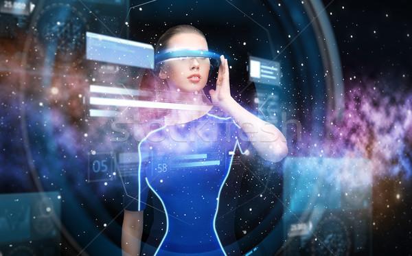 Nő virtuális valóság 3d szemüveg táblázatok tudomány Stock fotó © dolgachov