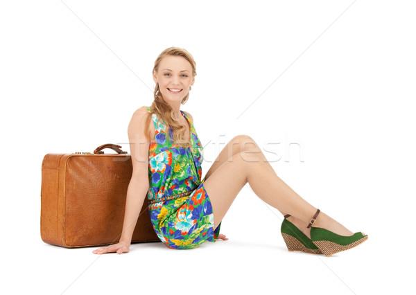 Nő bőrönd fényes kép boldog utazás Stock fotó © dolgachov