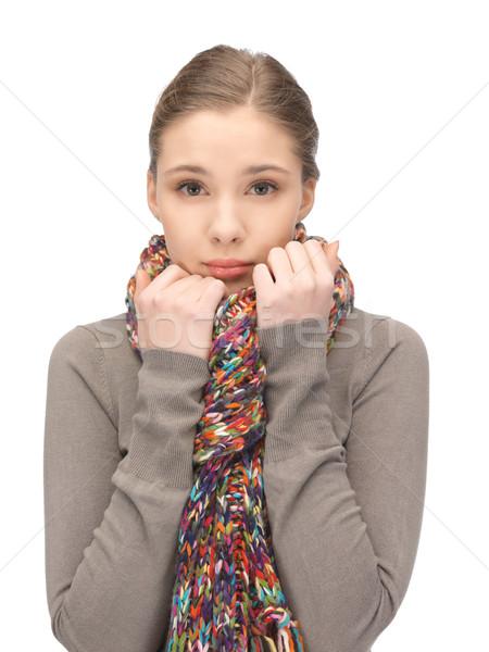 悲しい 女性 マフラー 明るい 画像 顔 ストックフォト © dolgachov