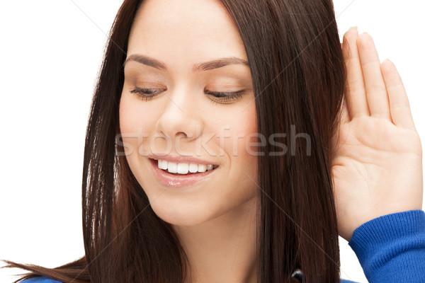 Mutlu kadın dinleme dedikodu parlak resim Stok fotoğraf © dolgachov