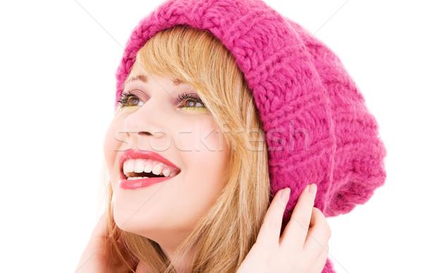 Gelukkig tienermeisje hoed winter witte vrouw Stockfoto © dolgachov