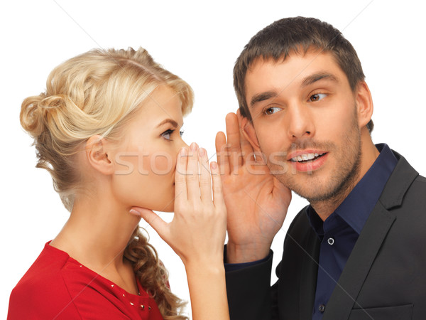man and woman spreading gossip Stock photo © dolgachov