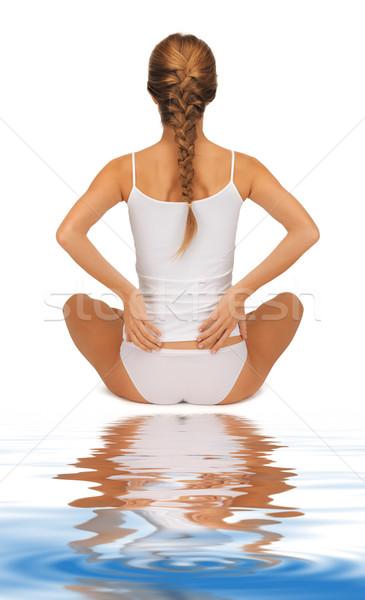 Zdjęcia stock: Piękna · kobieta · bawełny · widok · z · tyłu · kobieta · dziewczyna · zdrowia