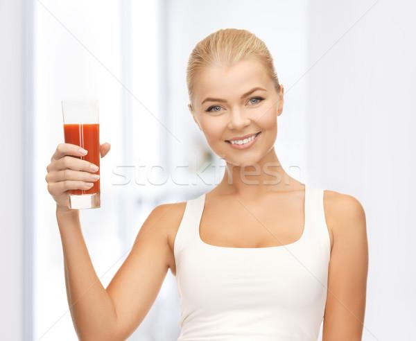 Vrouw glas tomatensap jonge vrouw gelukkig Stockfoto © dolgachov